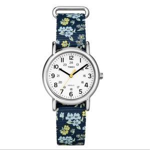 Timex Weekender Slip Thru Floral Nylon Strap Watch